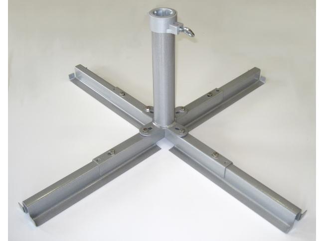 Base per ombrelloni a palo centrale rotondo alluminio metallizzato